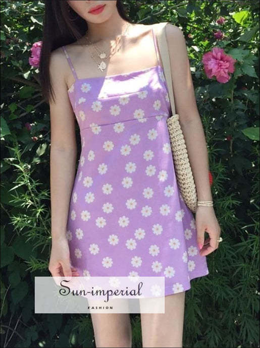 Purple  daisy floral Print Cami Dress A-line Mini Dress