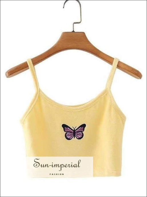 Yellow Velvet Cami Strap Tops Women Butterfly Embroidery Cropped top Summer Elastic Skinny top