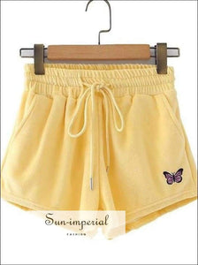 Yellow Velvet Shorts Women Butterfly Embroidery Casual Shorts Ealstic Shorts 2020