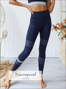 Yoga High Waist Leggings Women Running Fitness Trousers plus Size Elastic Breathable Stripes SUN-IMPERIAL United States