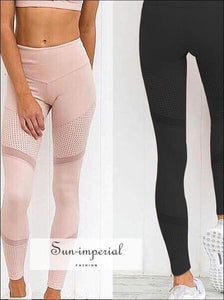 Yoga Leggings Women Breathable High Waist Running Pants Fitness Sports Pants Mesh Patchwork Ladies