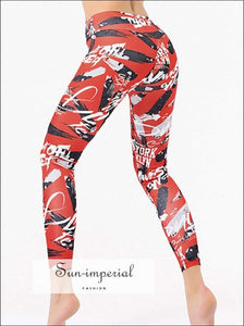 Yoga Pants Leggings Women Fitness Running Pants Printing Fashion High Waist Breathable Elastic