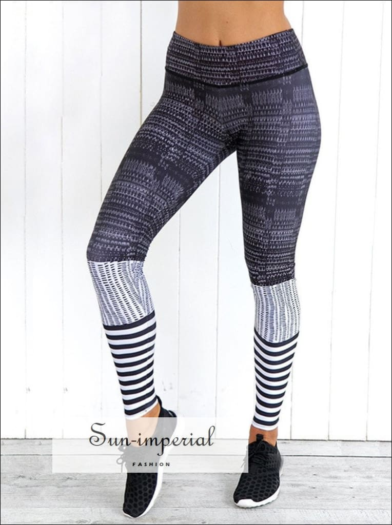 Yoga Pants Push up Women High Waist Leggings Striped Fitness Running Pants Breathable Elastic Ladies