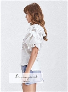 Zaw top - White Printed T-shirt Sleeve