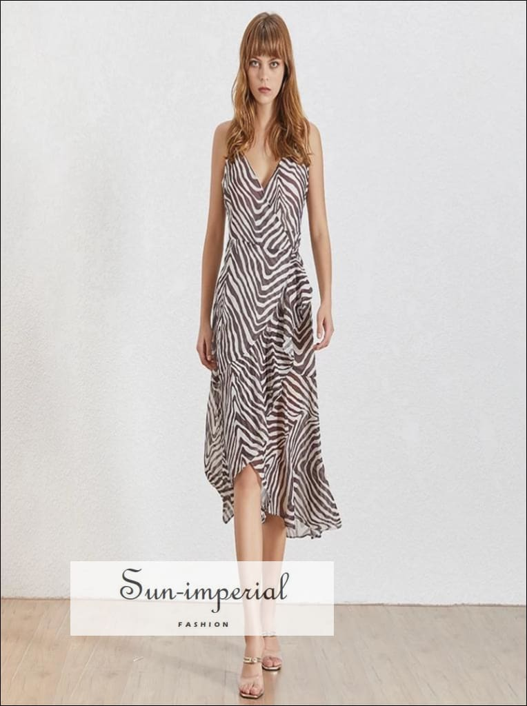 Zebra Dress- Vintage Striped V Neck Warp Women's Midi Dress Sleeveless a Line Off Shoulder, Sleeveless, striped, Neck, vintage SUN-IMPERIAL