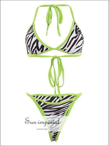 Zebra Print with Ultra Green Frame 2 Piece Bikini Set SUN-IMPERIAL United States