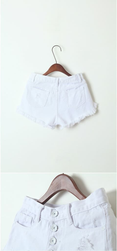 Women White Destructed Denim Shorts Button Front Ripped High Waist Destroyed Distressed Cotton Shorts