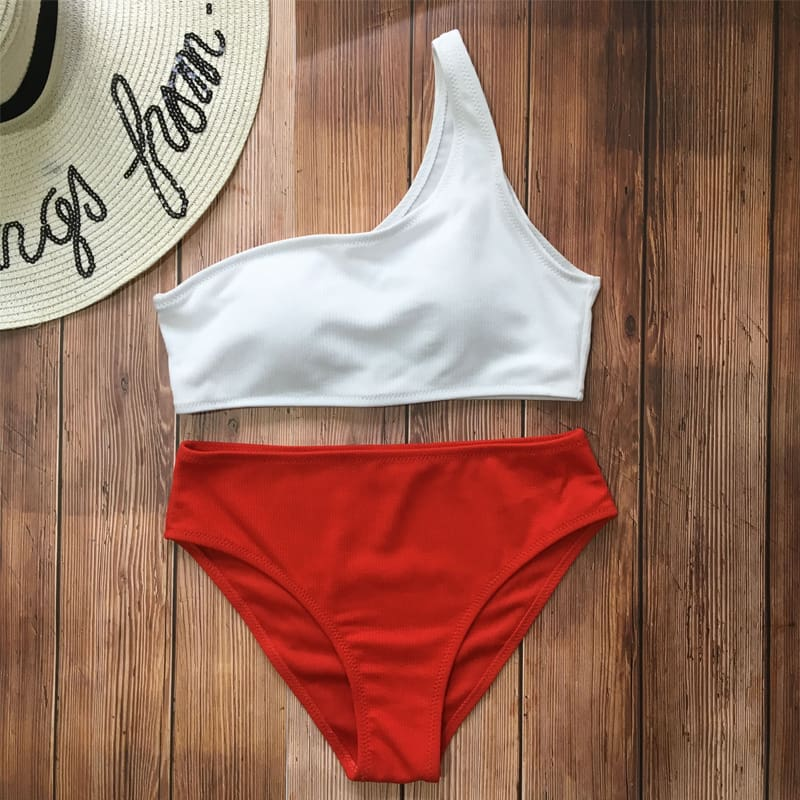 One Shoulder Two Piece Swimsuit S B Tankini Swimsuits High Waisted