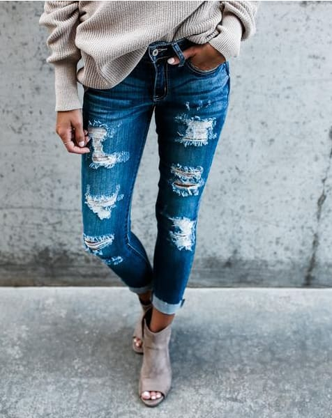 Bleached Ripped Jeans for Women Denim Slim Elasticity Skinny vintage jean