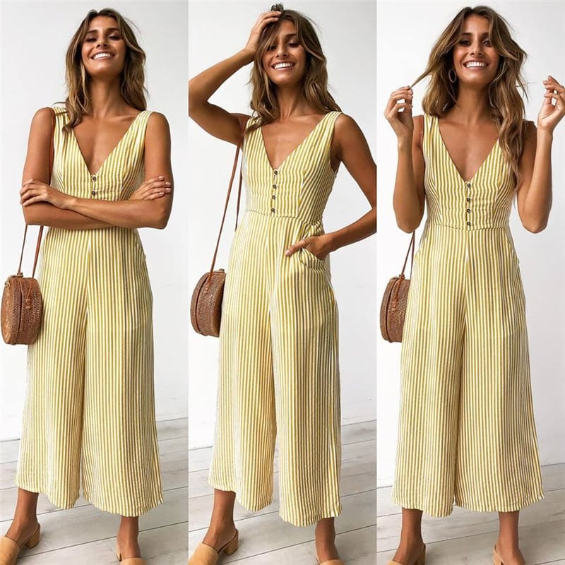Striped Button Pocket Deep V neck Wide Leg Jumpsuits For Wome