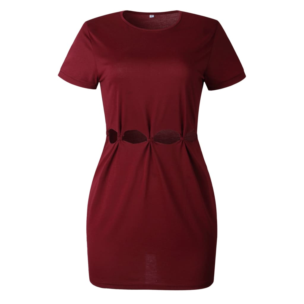 Women Hollow Out Mini slit T-shirt Dress Short Sleeve O-neck Summer Dress
