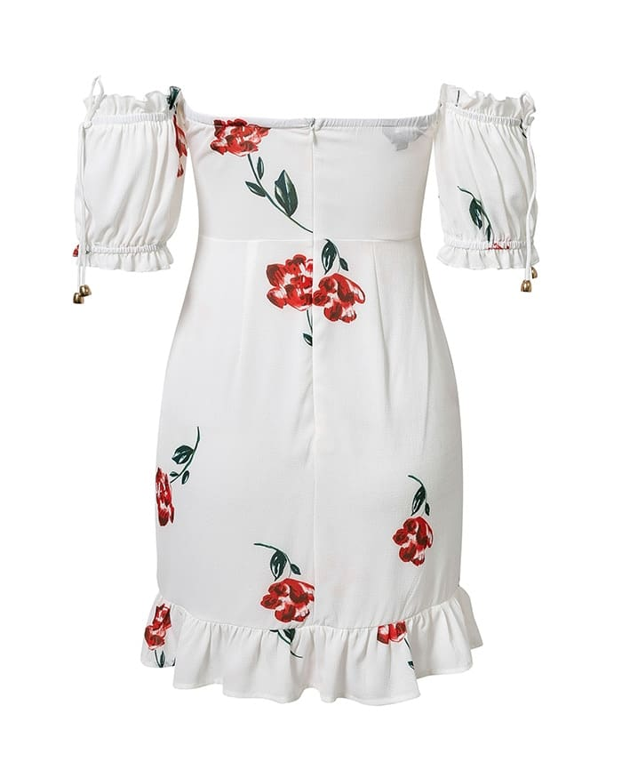 Lace Up Off The Shoulder mini Dress Short Sleeve Floral Print Ruffle White Beach Dress