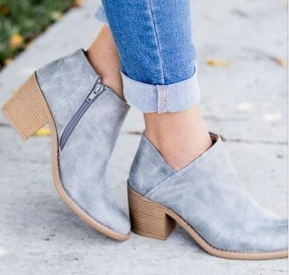 Women Shoes Retro Mid Heel Ankle Boots