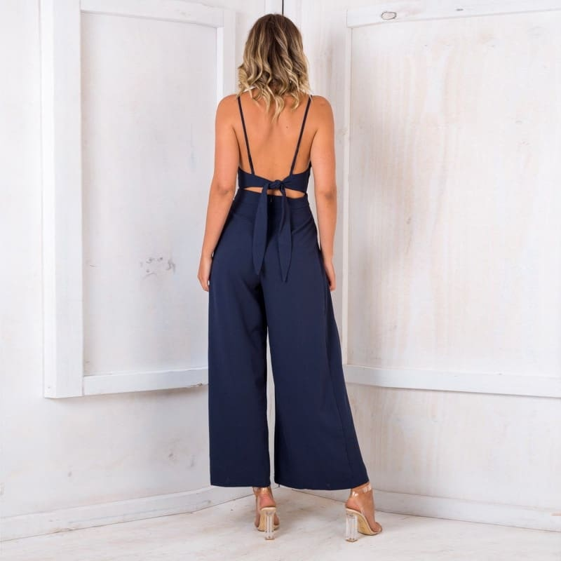 Deep V neck Backless Wide Leg Jumpsuit