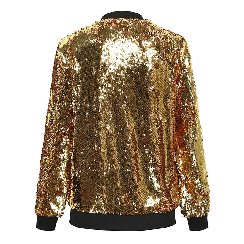 Women Sequins Coat Bomber Jacket Long Sleeve Zipper Streetwear Loose Glitter