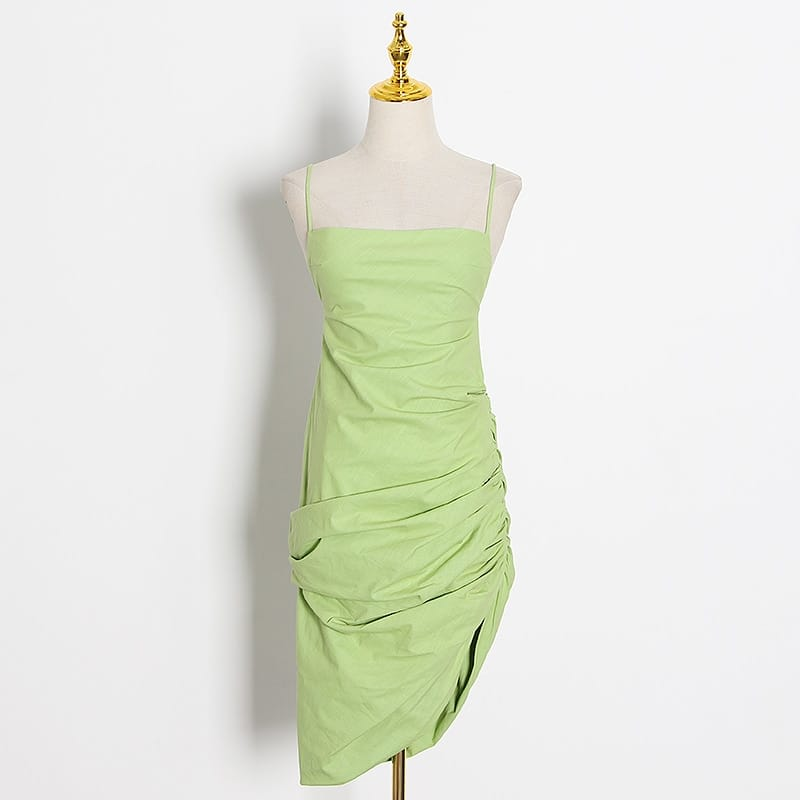 Women Mint Green Backless Ruched Asymmetrical Square Collar Mini Dress