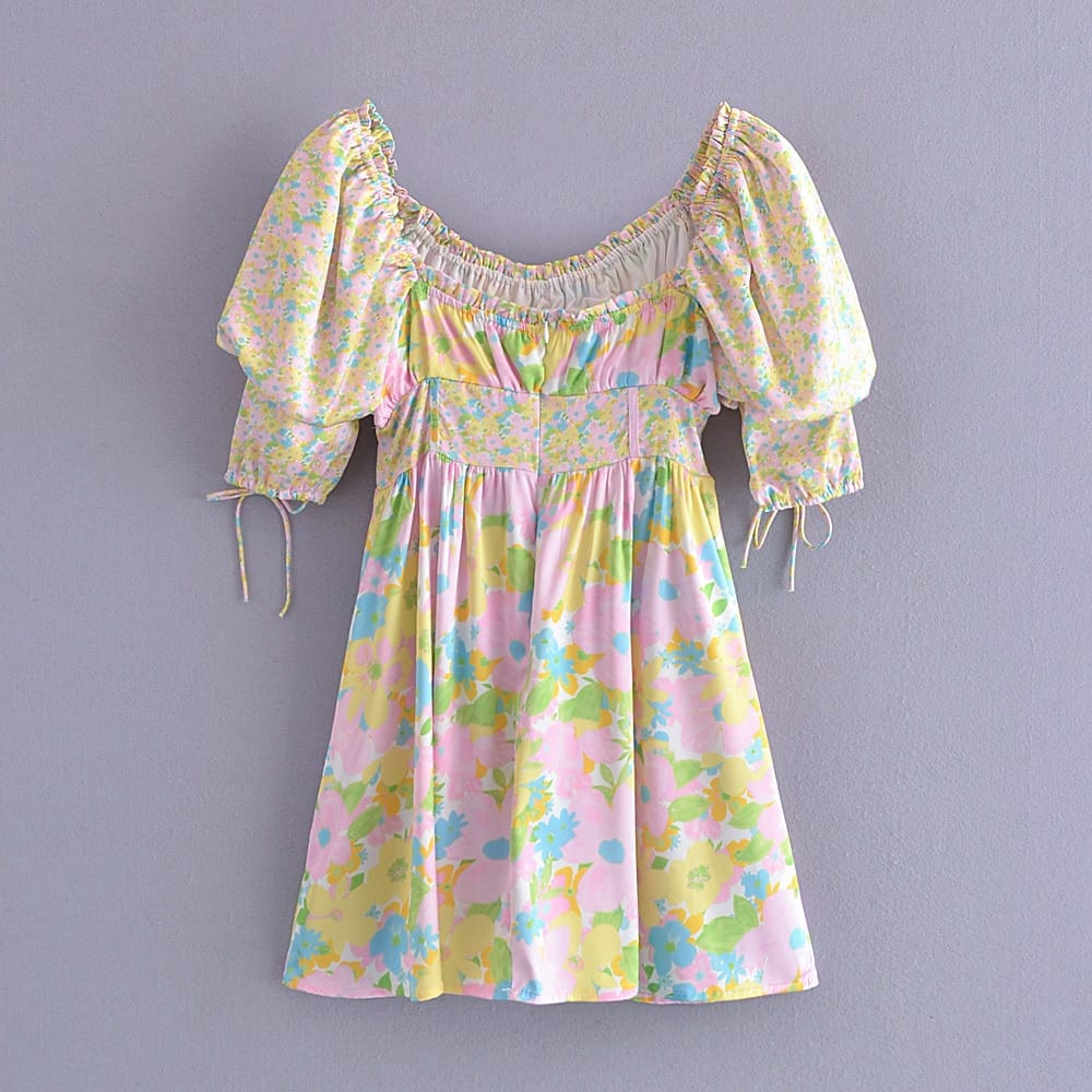 Women Floral Short Sleeve Mini Dress with Shirred Bodice Tie Puff Corset Waist detail