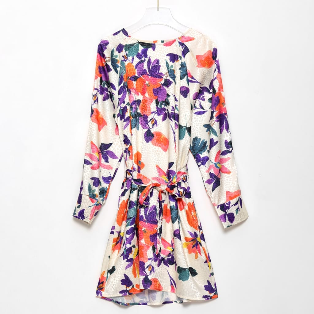 100% Silk Cream Flower Print Long Sleeve Mini Dress with Waist Tie Sashes and Leopard detail