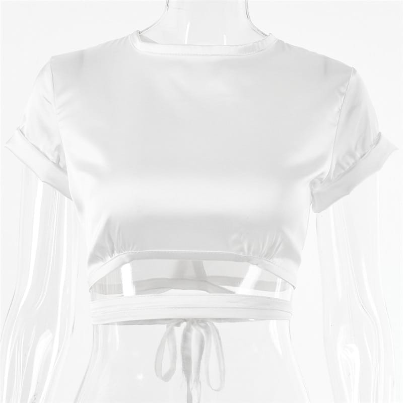 Chelsea top - White Satin Crop Short Sleeve O Neck Tie back Blouse