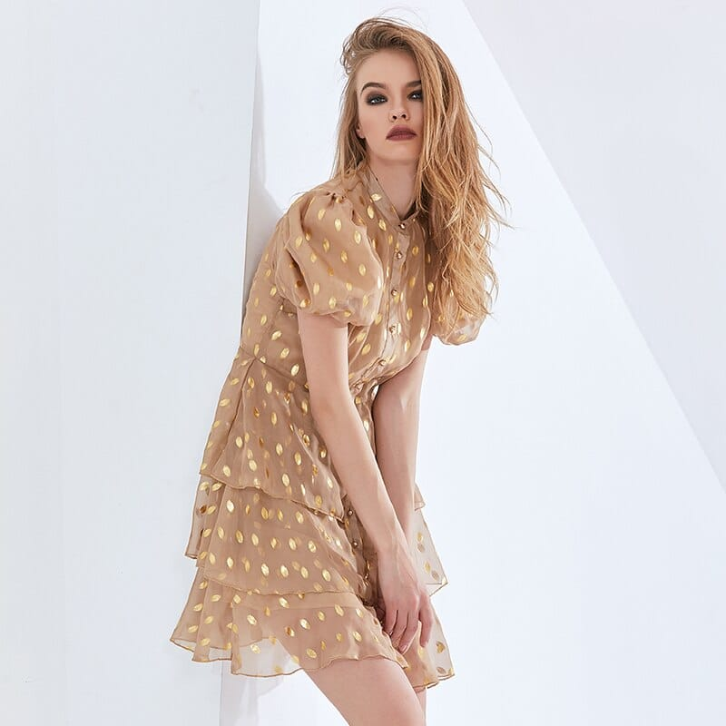 Women Camel Puff Short Sleeve High Neck Buttoned Elegant A-line Mini Dress with Layered Ruffle and