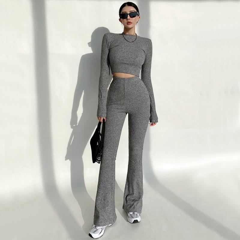 Women Grey High Neck Ribbed Long Sleeve Crop top and Stretch Waist Flare Trousers Co-ord Two