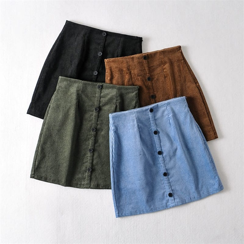 Women Blue Buttoned Cropped Corduroy Jacket and front Slim Mini Skirt Set
