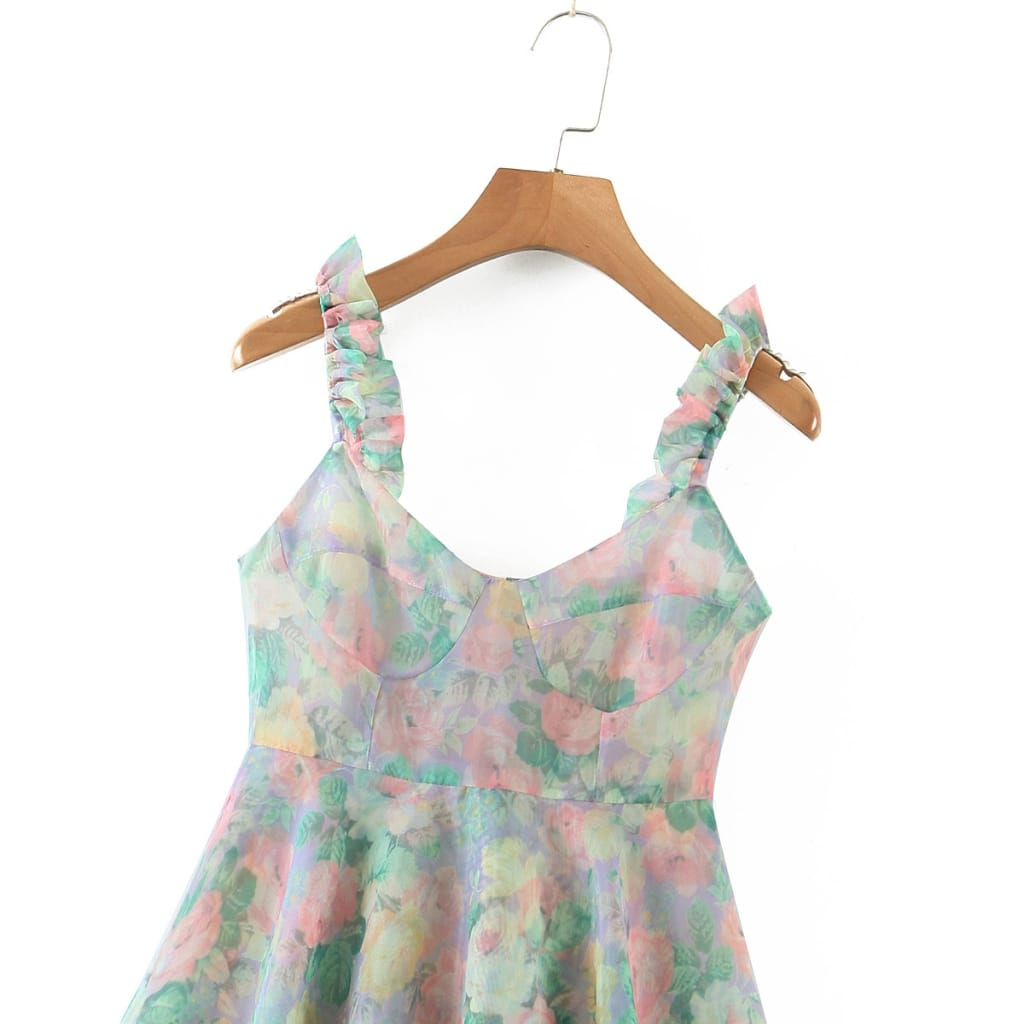 Women Corset Style Flower Print Ruffled Cami Strap a Line Mini Party Dress