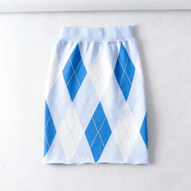 Women Blue Square Neck Zip through front Crop Argyle Knit Cardigan co Ord Knitted Mini Skirt
