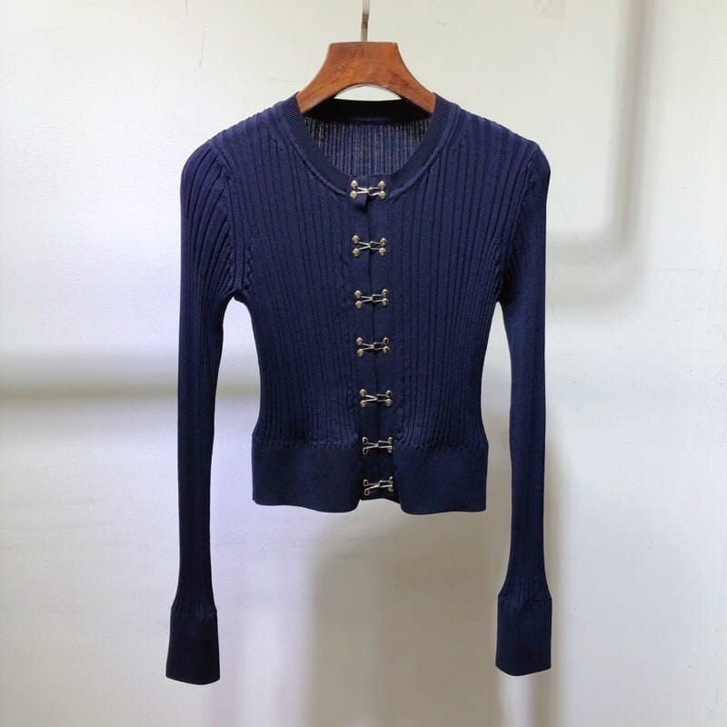 Women Navy Blue Ribbed Long Sleeve Cardigan top with Hook and Eye front