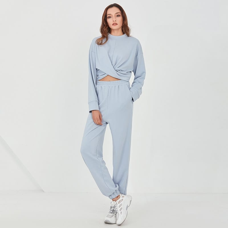 Women Two Piece Blue Criss Cross Cropped O Neck Long Sleeve Sweatshirt top and Sweatpants Set