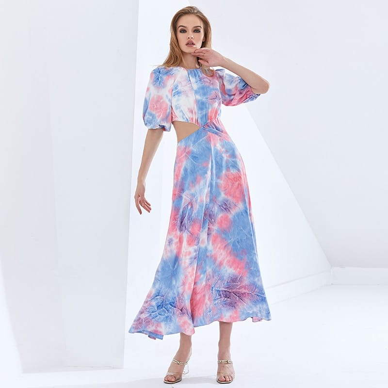 Women Two Tone Pink Cut out Puff Mid Sleeve High Neck Ruched Midi Dress A-line Flared Elegan Color