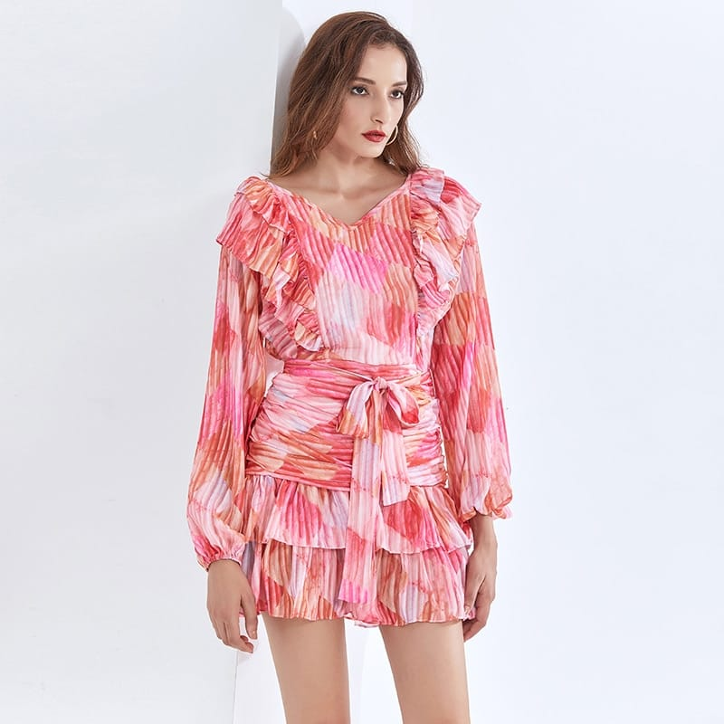 Pink Midi V Neck Dress with Lantern Long Sleeve Tie Waist and Ruffle detail