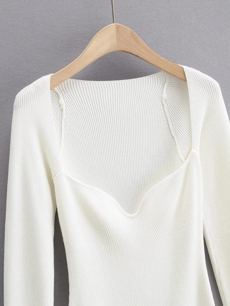Solid White Arc Square Collar Knitted Bodycon Slim Stretch Long Sleeve Mini Dress with Slit detail
