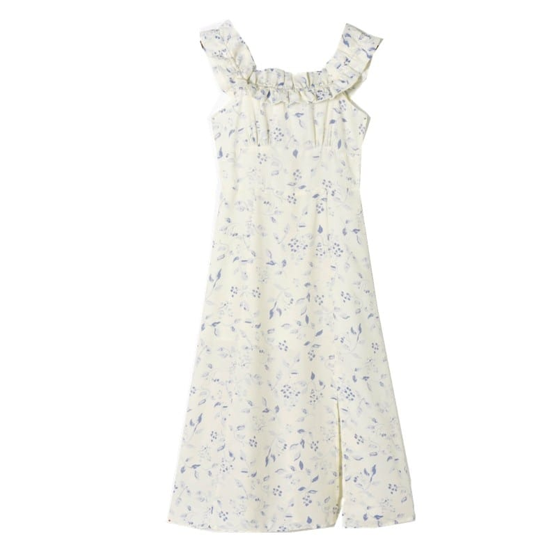 Sun-imperial off the Shoulder White Vintage Ruffled Decor Short Puff Sleeve Chiffon Floral Print