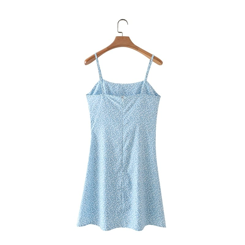 Women Sky Blue Floral Summer Beach Sleeveless A-line Mini Dress with Cami Strap Ruched Bust detail