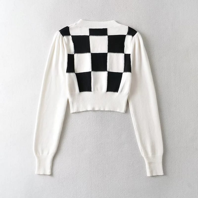 Women Cropped White Checkered Long Puff Sleeve Plaid Knit top Jumper