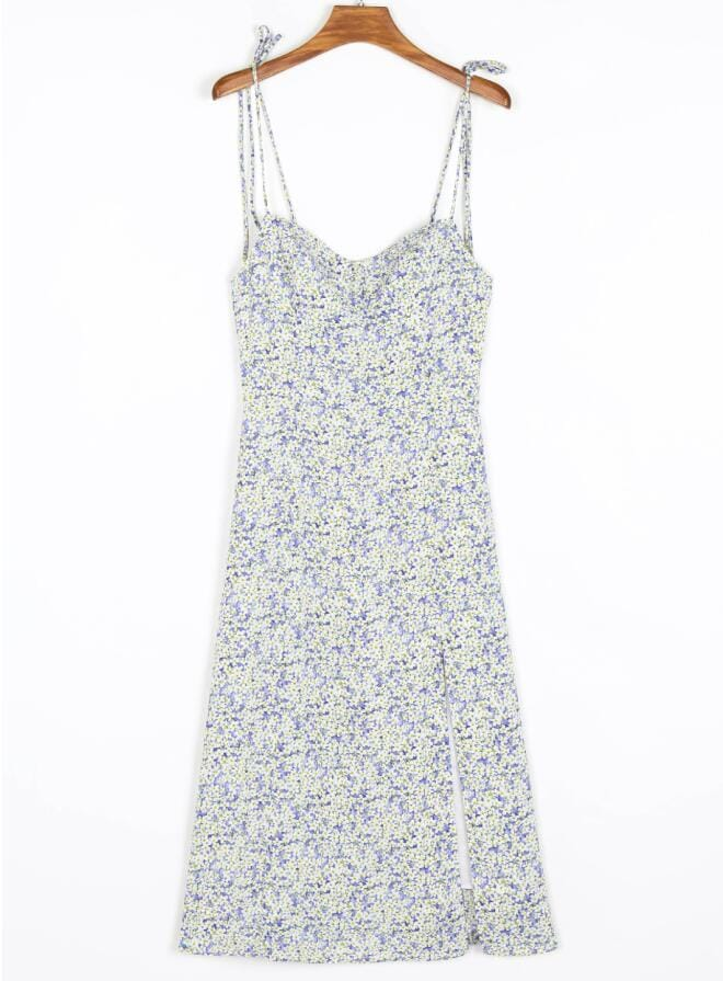 Women Purple Floral Print Cami Tie Strap Midi Dress with Corset Style Bust and front Slit detail