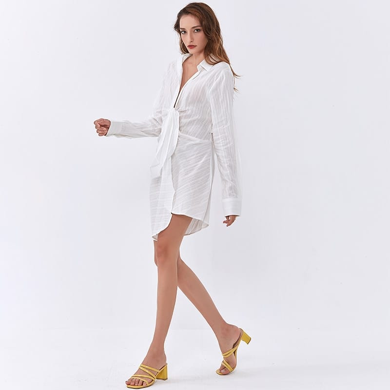 White Mini Shirt Dress with Deep V Neckline Long Sleeve and Cut out front Tie detail