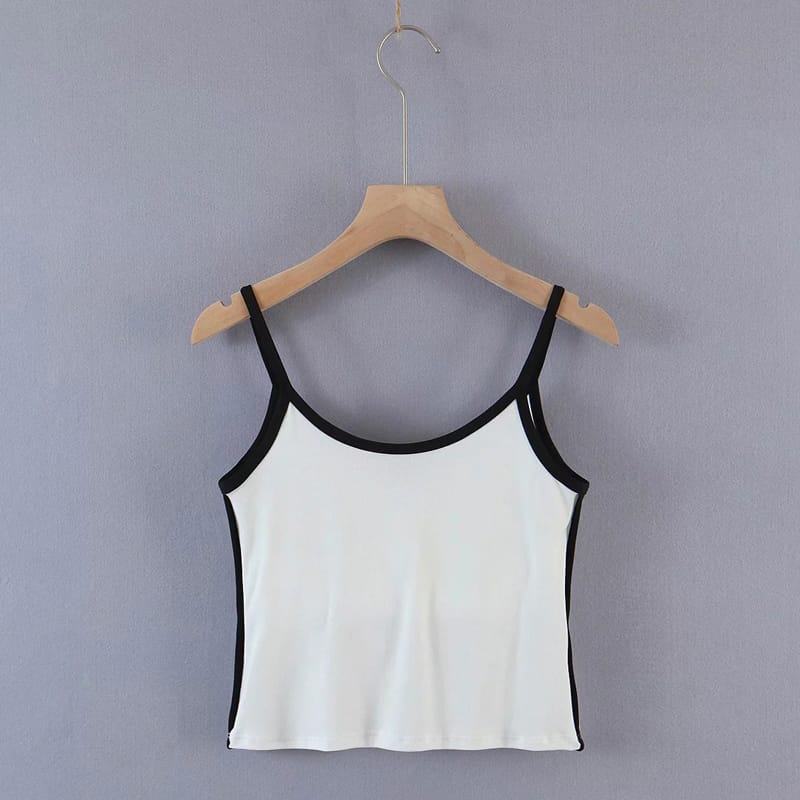 Women White Sweetheart Neckline Camisole with Padded Cup and Contrast Black Piping Cami top