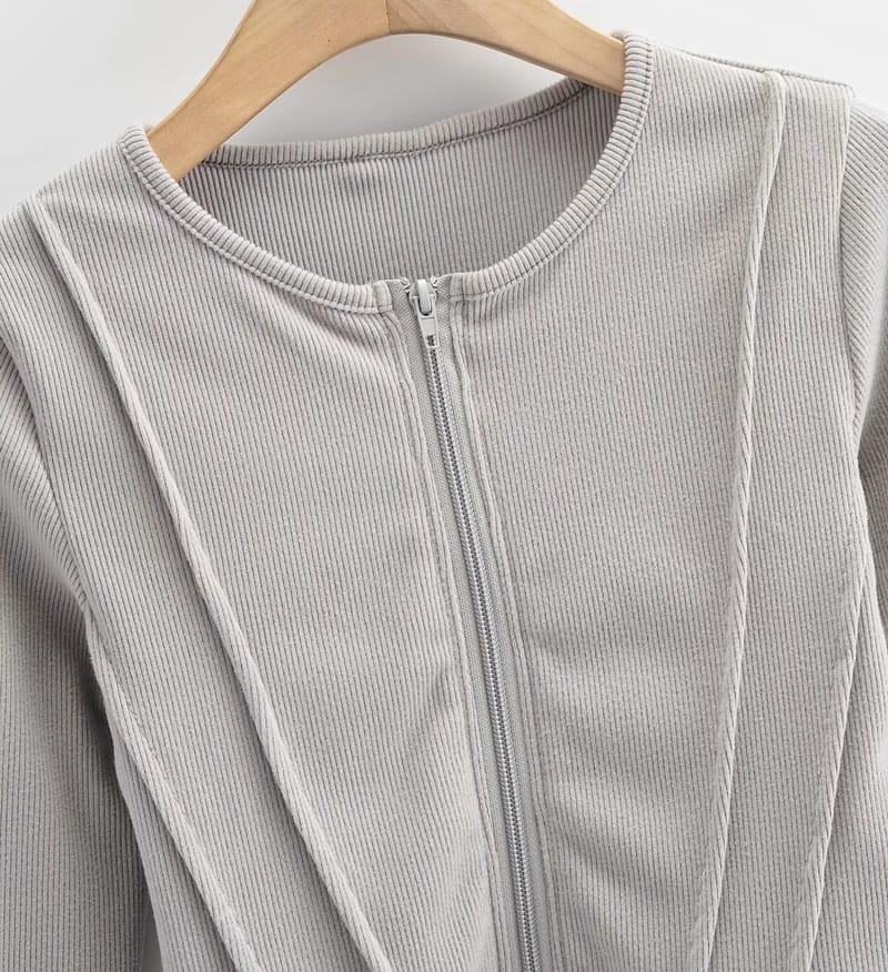 Women Gray Crop Fitted Ripped top with Center Zipper and Curve Hem detail
