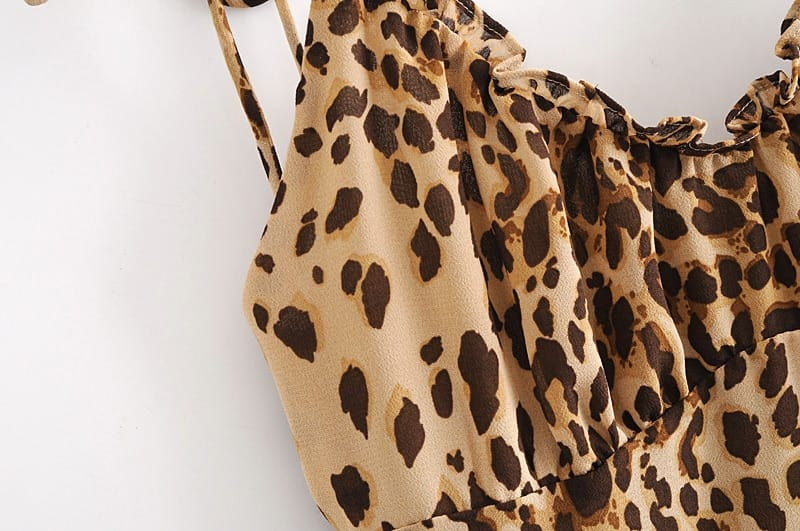 Leopard Print Cami Straps Ruched Bust Mini Dress with Ruffles detail