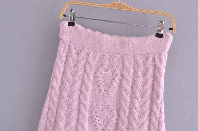 Women Pink Knitted Puff Long Sleeve Pullover Sweater and Mini Skirt Two Piece Set with