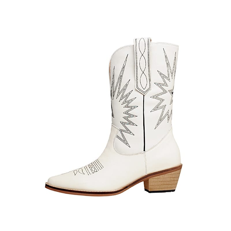 White Beige Black Genuine Leather Cowboy Boots for Women Med-heel Western Cowgirl