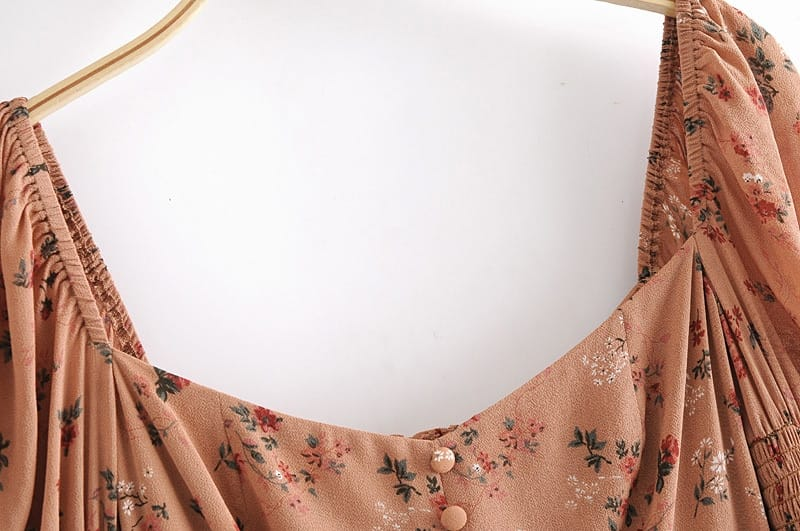 Vintage Women Floral Pink Slim Long Flare Sleeve Blouse with Buttons Decor detail top
