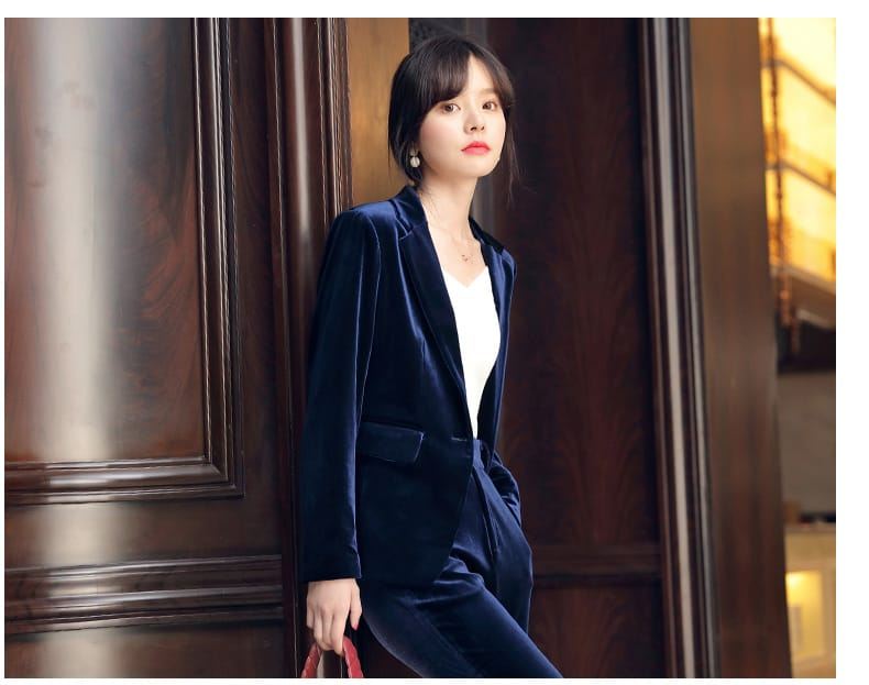 Women Navy Blue Velvet Long Sleeve Blazer and Bell Pants Set Two Piece with Gold Button