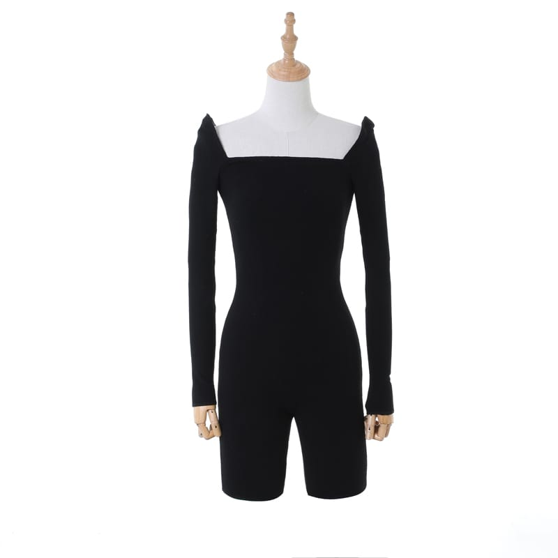 Women Solid Black Bodycon Long Sleeve Square Neck Ribbed Romper