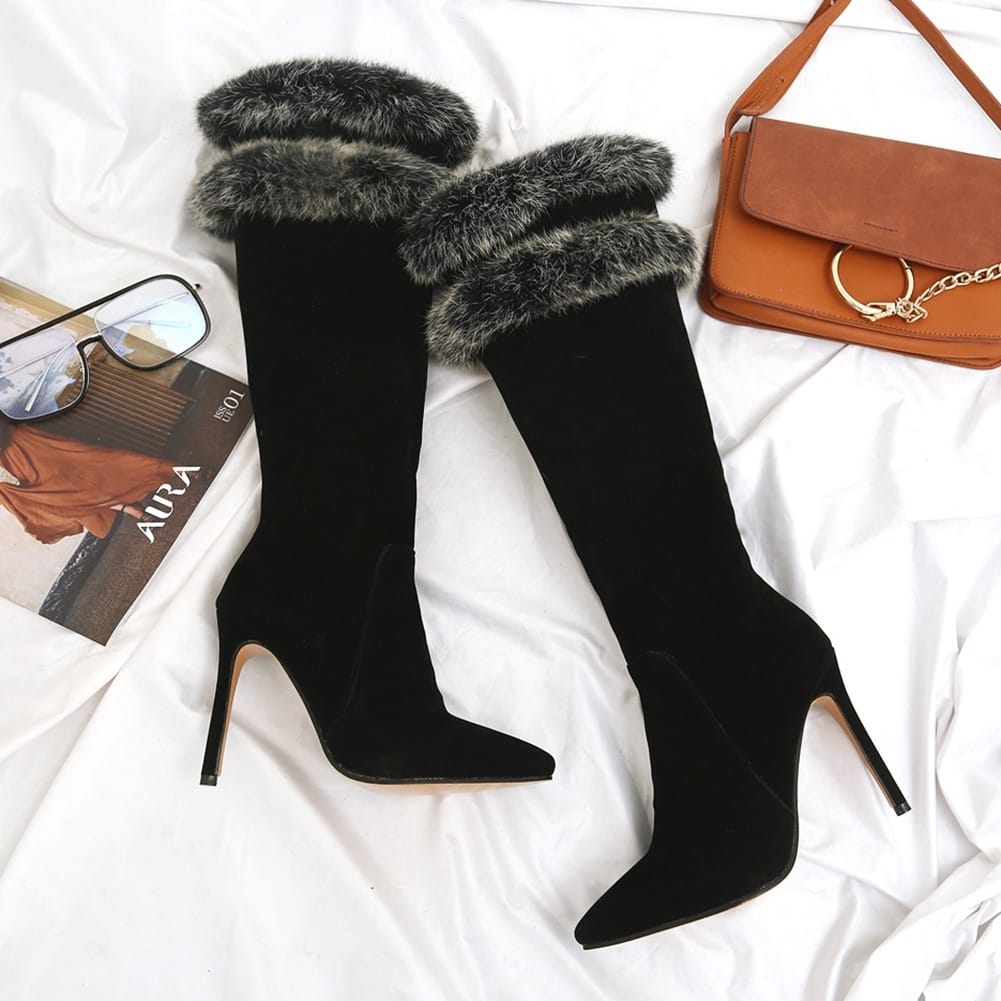 Women Brown Pointed Toe Knee Boots with thin High Heels and Double Grey Fur detail Booties