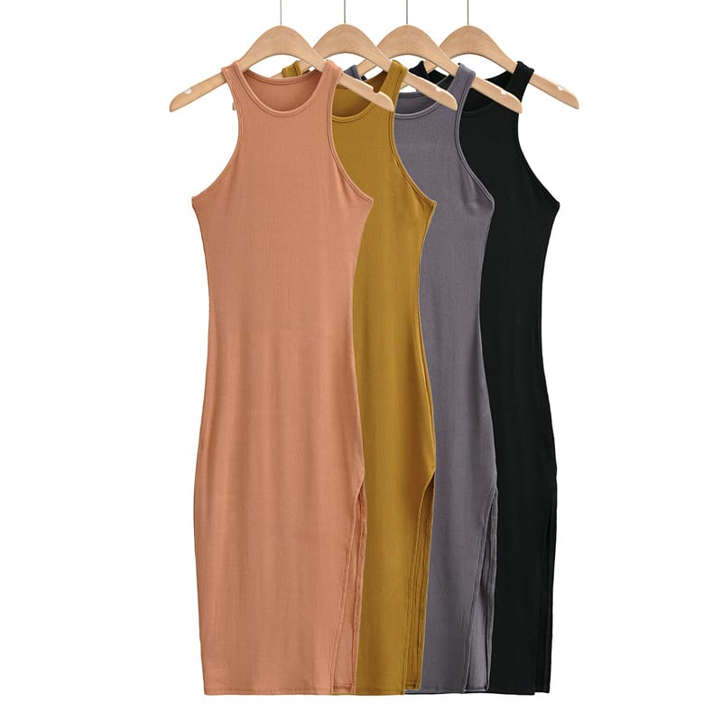 Women Ribbed Black Casual Racer front Neck Midi Dress with High side Split