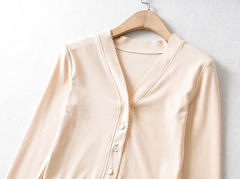 Women White V Neck Buttoned Long Sleeves T-shirt Slim Fit top with Trimming detail Blouse