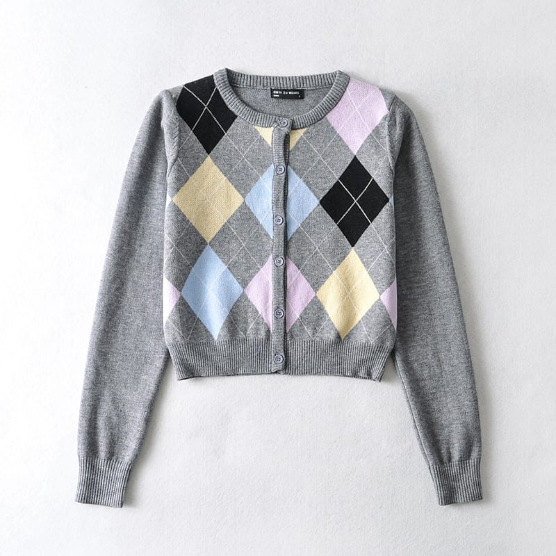 Women Beige Crew Neck Crop Knit Buttoned Long Sleeve Cardigan with Argyle Pattern